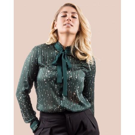 Chemise femme vert foncé à imprimé étoiles et bandes fines de lurex,  à col lavallière.